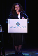 Washington, DC - June 17, 2014: Claudia Paz y Paz, Guatemala's first female attorney general, addresses the audience during the Vital Voices Global Leadership Awards at the John F. Kennedy Center in the District of Columbia, June 17, 2014. She received the organization's Leadership in Public Life Award for her role in restoring confidence in Guatemala's legal system.  (Photo by Don Baxter/Media Images International)
