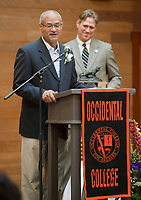 Alumnus of the Year Award recipient Carl Ballton '69 speaks after receiving his award at the Occidental College Alumni Association Awards Assembly during Reunion Weekend 2009 at Occidental College in Los Angeles, Calif. on June 13, 2009. Tom Kosakowski '88, President, Alumni Association Board of Governors, stands behind him.(Photo by Marc Campos, Occidental College Photographer)