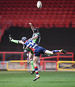 23rd March 2018, Ashton Gate, Bristol, England; RFU Rugby Championship, Bristol versus Yorkshire Carnegie; Ryan Edwards of Bristol and Stevie McColl of Yorkshire Carnegie compete for the ball in the air
