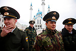Photo by Heathcliff Omalley..Kazan 2 November 2007.Russian prison officers after a visit to the Kul Sharif Mosque in Kazan, the capital of the oil rich region of Tartarstan. Statistics show that the Russian Muslims population could overtake the Christian Orthodox in the next thirty years.