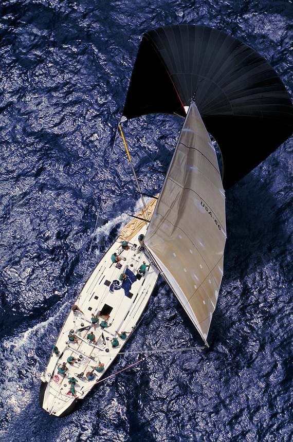 Rolex race 98 - aerial of Donnybrook, custom 73 on spinnaker run. St Thomas, US Virgin Islands Caribbean.