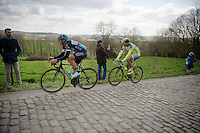 Matteo Trentin (ITA/Ettix-Quickstep), who would eventually finish 3rd &amp; Matti Breschel (DEN/Tinkoff-Saxo) over the Taaienberg cobbles <br /> <br /> 58th E3 Harelbeke 2015