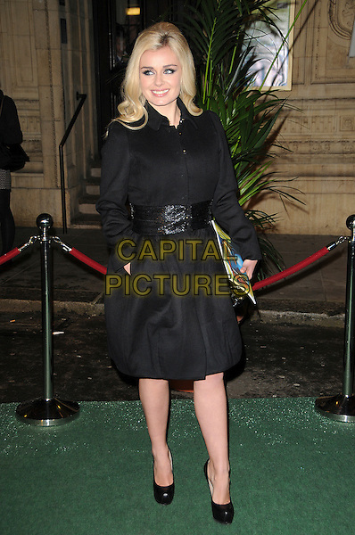 KATHERINE JENKINS.Arrivals at Cirque du Soleil's Varekai gala opening night at the Royal Albert Hall, London, England. .January 5th, 2009.full length black shoes coat platform heels sequins sequined belt hand in pocket .CAP/CAS.©Bob Cass/Capital Pictures.