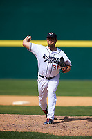 Binghamton Rumble Ponies relief pitcher Cory Burns (30) delivers a pitch during a game against the Hartford Yard Goats on July 9, 2017 at NYSEG Stadium in Binghamton, New York.  Hartford defeated Binghamton 7-3.  (Mike Janes/Four Seam Images)