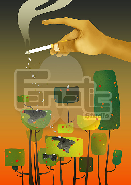 Illustrative concept of man's hand flicking the cigarette on trees representing environmental damage