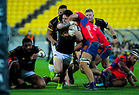Carlos Price wrestles for the ball during the Mitre 10 Cup rugby match between Wellington Lions and Tasman Makos at Westpac Stadium in Wellington, New Zealand on Sunday, 19 August 2018. Photo: Dave Lintott / lintottphoto.co.nz
