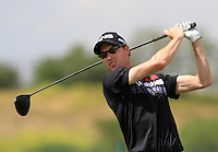 Rhys Davies (WAL) on the 1st tee during Round 1 of the Challenge de Madrid, a Challenge  Tour event in El Encin Golf Club, Madrid on Wednesday 22nd April 2015.<br /> Picture:  Thos Caffrey / www.golffile.ie