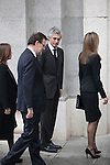 Princess Letizia, Spanish prime minister Mariano Rajoy and Adolfo Suarez Illana  arrive to the state funeral for former Spanish prime minister Adolfo Suarez at the Almudena Cathedral in Madrid, Spain. March 31, 2014. (ALTERPHOTOS/Victor Blanco)