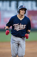 Travis Blankenhorn (7) of the Elizabethton Twins rounds the bases after hitting a home run against the Pulaski Yankees at Calfee Park on July 25, 2016 in Pulaski, Virginia.  The Twins defeated the Yankees 6-1.  (Brian Westerholt/Four Seam Images)