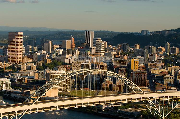 Aerial View of Fremont Bridge, Portland, Oregon
