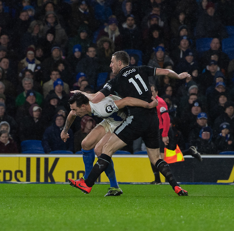 Burnley's Chris Wood (right) battles with Brighton & Hove Albion's Lewis Dunk (left) scores his side's second goal <br /> <br /> Photographer David Horton/CameraSport<br /> <br /> The Premier League - Brighton and Hove Albion v Burnley - Saturday 9th February 2019 - The Amex Stadium - Brighton<br /> <br /> World Copyright © 2019 CameraSport. All rights reserved. 43 Linden Ave. Countesthorpe. Leicester. England. LE8 5PG - Tel: +44 (0) 116 277 4147 - admin@camerasport.com - www.camerasport.com