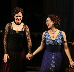 Elizabeth McGovern and Anna Camp during the Broadway Opening Night performance Curtain Call Bows for The Roundabout Theatre Company production of 'Time and The Conways'  on October 10, 2017 at the American Airlines Theatre in New York City.