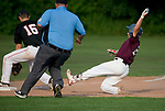 WATERTOWN,  CT-071018JS07-- Naugatuck's Steven Marinaro (24) slides safely into third for a triple as Oakville's Ryan Loiselle (16) covers the throw during their Zone 5 American Legion game Tuesday at the Taft School in Watertown. <br />  Jim Shannon Republican American