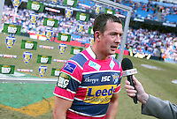 PICTURE BY VAUGHN RIDLEY/SWPIX.COM - Rugby League - Super League Magic Weekend - Bradford Bulls v Leeds Rhinos - Eithad Stadium, Manchester, England - 27/05/12 - Leeds Danny McGuire speaks to SkySports after scoring 5 tries against Bradford.