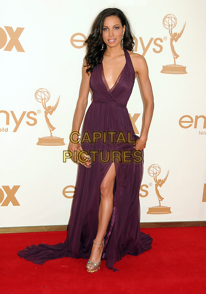 Jurnee Smollett.63rd Primetime Emmy Awards held at Nokia Theatre L.A. Live. Los Angeles, California, USA. .18th September 2011.emmys full length dress purple halterneck slit split .CAP/ADM/BP.©Byron Purvis/AdMedia/Capital Pictures.