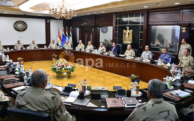 Egypt's President Abdel Fattah al-Sisi meets with members of the Supreme Council of the armed forces, in Cairo on November 18, 2015. Photo by Egyptian President Office