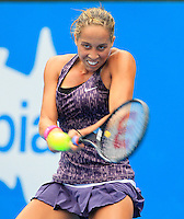 Madison Keys of U.S. hits a backhand to Angelique Kerber of Germany during their semi-final match at the Sydney International tennis tournament, Jan. 9, 2014.  Daniel Munoz/Viewpress IMAGE RESTRICTED TO EDITORIAL USE ONLY