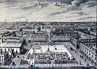 London: Covent Garden drawn and engraved by Sutton Nichols, 1720. Design by Inigo Jones, 1631. Seen from south.