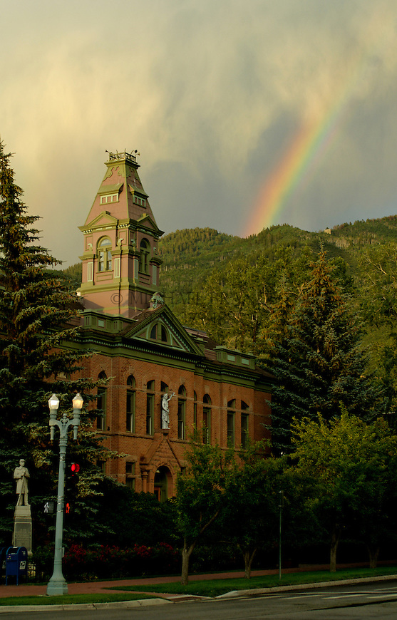 The Pitkin County Courthouse in Aspen, CO with rainbow. © Michael Brands. 970-379-1885.