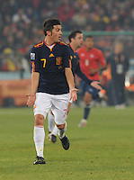 David Villa asks for the ball into his run. Spain won Group H following a 2-1 defeat of Chile in Pretoria's Loftus Versfeld Stadium, Friday, June 25th, at the 2010 FIFA World Cup in South Africa..