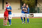 2015-10-25 / Voetbal / Seizoen 2015-2016 / FC Turnhout - KV Vosselaar / FC Turnhout viert de 3-1 overwinning tegen de buren uit Vosselaar. Teleurstelling bij Vosselaar<br /><br />Foto: Mpics.be