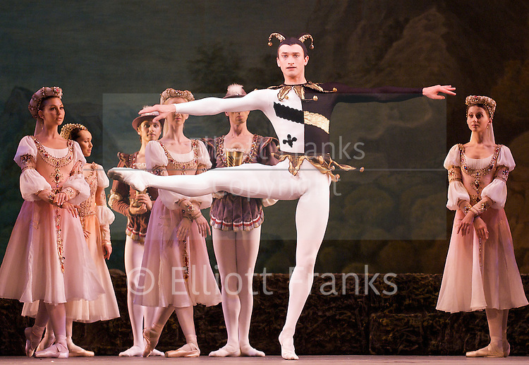 Swan Lake<br /> Mariinsky Ballet <br /> presented by Victor Hochhauser<br /> at The Royal Opera House, London, Great Britain <br /> 25th July 2011<br /> Grigory Popov<br /> Jester<br /> Photograph by Elliott Franks