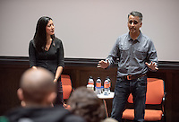 """Screening and Q & A of """"Food Chains"""" in Choi Auditorium, Nov. 16, 2015.<br /> (Photo by Marc Campos, Occidental College Photographer)"""