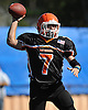 East Rockaway quarterback No. 7 Michael Del Gais throws a pass during the second quarter of a Nassau County Conference IV varsity football game against West Hempstead at East Rockaway High School on Saturday, October 10, 2015. West Hempstead won by a score of 28-14.<br /> <br /> James Escher