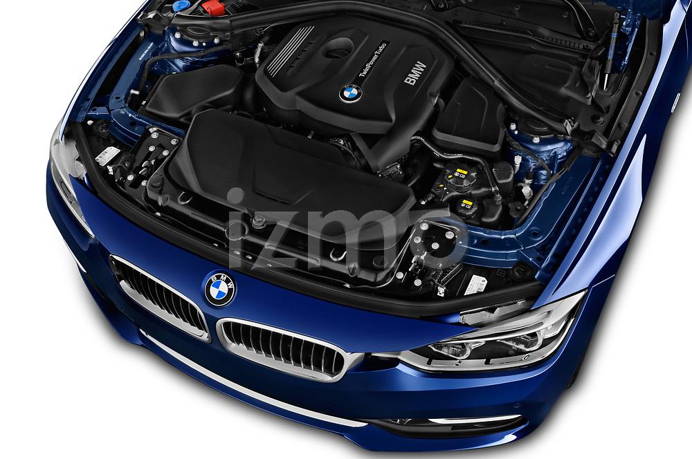 Car stock 2017 BMW 3 Series Touring 330i xDrive 5 Door Wagon engine high angle detail view
