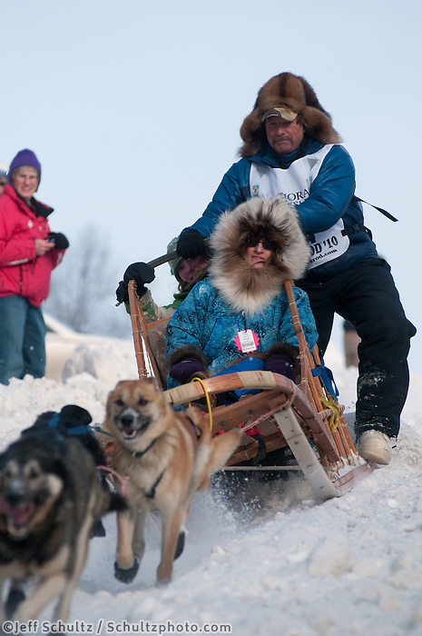 2010 Iditarod Ceremonial Start in Anchorage Alaska musher # 44 SONNY LINDNER with Iditarider GINA TABACHI