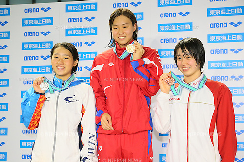 (L to R) <br /> Chinatsu Sato, <br /> Hiroko Makino, <br /> Natsumi Shibata, <br /> MARCH 29, 2015 - Swimming : <br /> The 37th JOC Junior Olympic Cup <br /> Women's 200m Freestyle <br /> 15-16 years old award ceremony <br /> at Tatsumi International Swimming Pool, Tokyo, Japan. <br /> (Photo by YUTAKA/AFLO SPORT)