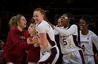 Stanford, CA - January 24, 2020: Ashten Prechtel, Francesca Belibi, Nadia Fingall, Mikaela Brewer at Maples Pavilion. The Stanford Cardinal defeated the Colorado Buffaloes in overtime, 76-68.