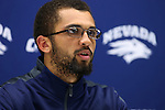 Nevada quarterback Tyler Stewart answers media questions following an NCAA college football game against UC Davis in Reno, Nev. on Thursday, Sept. 3, 2015. Nevada won 31-17.  (AP Photo/Cathleen Allison)