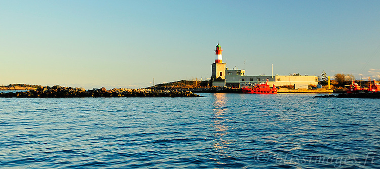 The pilot boats at Harmaja Lighthouse wait to engage ships as they enter and exit the Port of Helsinki in the Gulf of Finland.