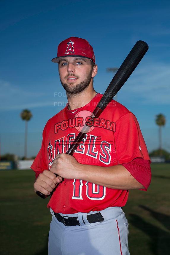AZL Angels catcher Brett Bond (10) poses for a photo before an Arizona League game against the AZL Padres 2 at Tempe Diablo Stadium on July 18, 2018 in Tempe, Arizona. The AZL Padres 2 defeated the AZL Angels 8-1. (Zachary Lucy/Four Seam Images)