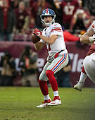 New York Giants quarterback Kyle Lauletta (17) looks for a receiver in the fourth quarter against the Washington Redskins at FedEx Field in Landover, Maryland on Sunday, December 9, 2018.  The Giants won the game 40 - 16.<br /> Credit: Ron Sachs / CNP<br /> (RESTRICTION: NO New York or New Jersey Newspapers or newspapers within a 75 mile radius of New York City)