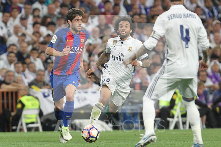 Sergi Roberto of FC Barcelona during the match of La Liga between Real Madrid and Futbol Club Barcelona at Santiago Bernabeu Stadium  in Madrid, Spain. April 23, 2017. (ALTERPHOTOS)