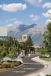 GBHB Gordon B. Hinckley Alumni and Visitor Center exteriors with Timp in background..August 31, 2007..Photography by Mark A. Philbrick..Copyright BYU Photo 2007.All Rights Reserved .photo@byu.edu  (801)422-7322