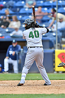 Augusta GreenJackets third baseman Wander Franco (40) awaits a pitch during a game against the Asheville Tourists at McCormick Field on April 7, 2019 in Asheville, North Carolina. The GreenJackets  defeated the Tourists 11-2. (Tony Farlow/Four Seam Images)