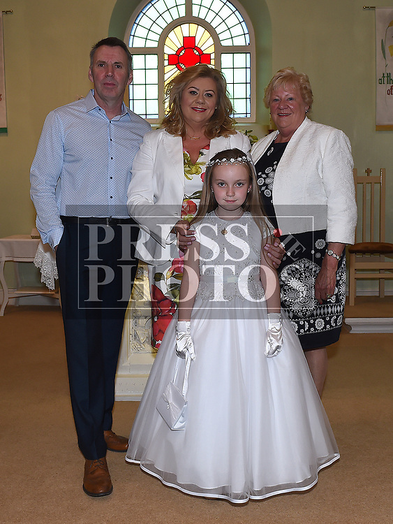 Lucy Plunkett who received first holy communion in St Joseph's church Mell, pictured with her family. Photo:Colin Bell/pressphotos.ie