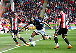 Chris Basham of Sheffield Utd and James Meredith of Millwall  during the championship match at the Bramall Lane Stadium, Sheffield. Picture date 14th April 2018. Picture credit should read: Simon Bellis/Sportimage