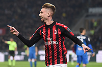 Samuel Castillejo of AC Milan celebrates after scoring third goal for his side <br /> Milano 22-02-2019 Stadio Giuseppe Meazza in an Siro Football Serie A 2018/2019 AC Milan - Empoli <br /> Foto Image Sport / Insidefoto