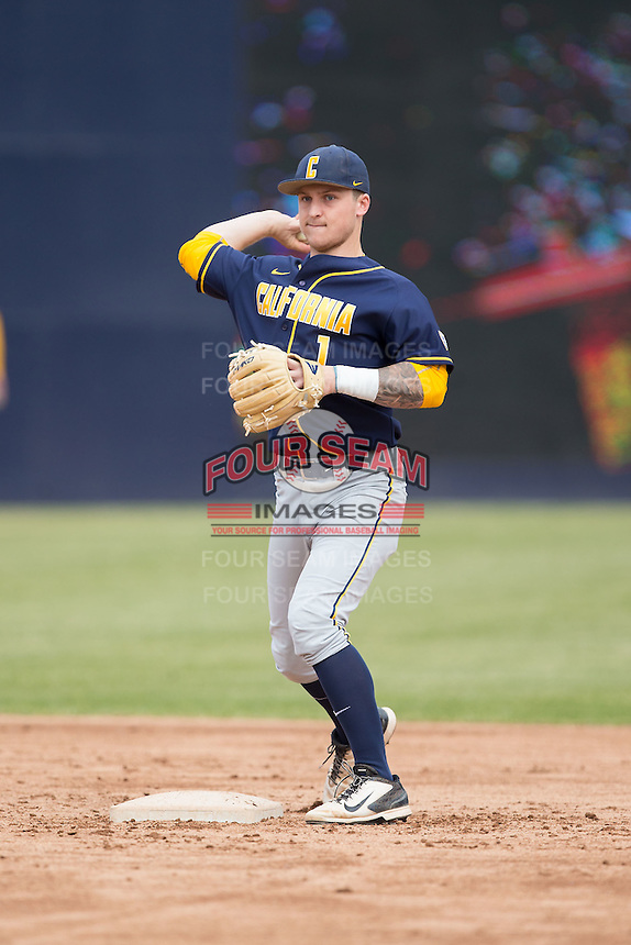 California Golden Bears second baseman Robbie Tenerowicz (1) makes a throw to first base during fielding practice prior to the game against the Duke Blue Devils at Durham Bulls Athletic Park on February 20, 2016 in Durham, North Carolina.  The Blue Devils defeated the Golden Bears 6-5 in 10 innings.  (Brian Westerholt/Four Seam Images)