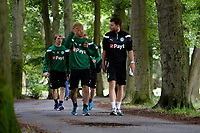MARIENHOF - Voetbal, Trainingskamp FC Groningen , seizoen 2017-2018, 13-07-2017, FC Groningen speler Simon Tibbling  en FC Groningen speler Ritsu Doan op weg naar de training