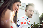 Taylor Phinney (USA) Cannondale Drapac wears the first mountains Polka Dot Jersey at the end of Stage 2 of the 104th edition of the Tour de France 2017, running 203.5km from Dusseldorf, Germany to Liege, Belgium. 2nd July 2017.<br /> Picture: ASO/Thomas Maheux | Cyclefile<br /> <br /> <br /> All photos usage must carry mandatory copyright credit (&copy; Cyclefile | ASO/Thomas Maheux)