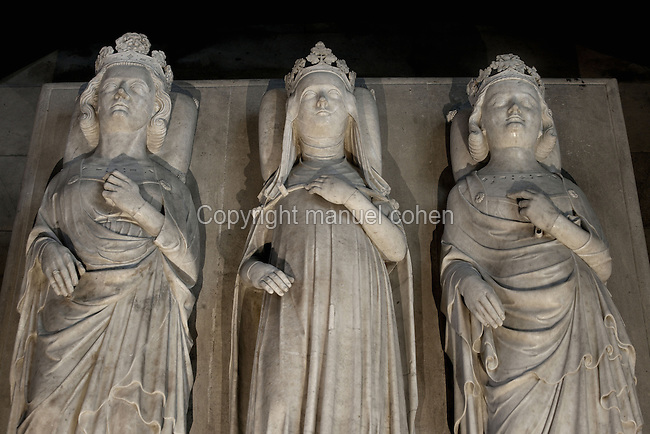 Gisants of Philip V, called the Tall (1294 - 1322), Jeanne of Evreux (1307 - 1371), Charles IV (1294 - 1328), marble, circa 1327, Abbey church of Saint Denis, Seine Saint Denis, France. Picture by Manuel Cohen