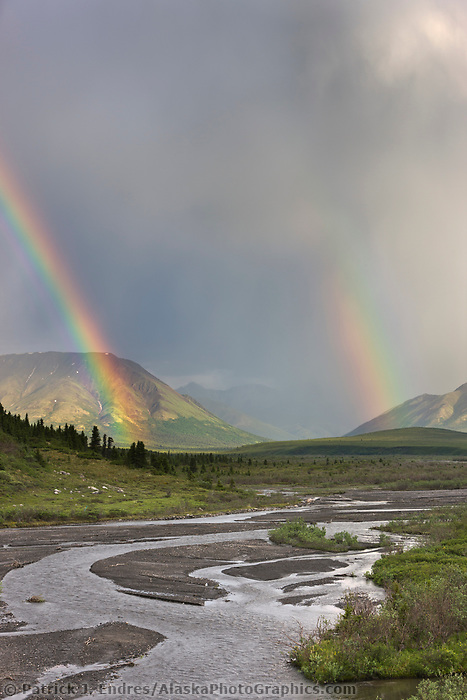 Rainbow over the Alaska Range and the savage river drainage, Denali National Park, Interior, Alaska.