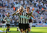 Newcastle United's Joselu celebrates scoring his side's first goal <br /> <br /> Photographer Rob Newell/CameraSport<br /> <br /> The Premier League - Newcastle United v West Ham United - Saturday 26th August 2017 - St James' Park - Newcastle<br /> <br /> World Copyright &copy; 2017 CameraSport. All rights reserved. 43 Linden Ave. Countesthorpe. Leicester. England. LE8 5PG - Tel: +44 (0) 116 277 4147 - admin@camerasport.com - www.camerasport.com