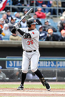 Rochester Red Wings first baseman Aaron Bates #35 during the opening game of the International League season against the Rochester Red Wings at Alliance Bank Stadium on April 5, 2012 in Syracuse, New York.  Rochester defeated Syracuse 7-4.  (Mike Janes/Four Seam Images)