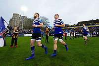 Max Wright, Sam Underhill and the rest of the Bath Rugby team run onto the field. Gallagher Premiership match, between Bath Rugby and Sale Sharks on December 2, 2018 at the Recreation Ground in Bath, England. Photo by: Patrick Khachfe / Onside Images